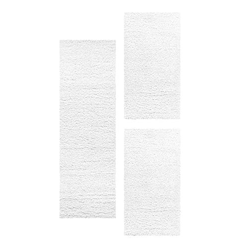 Juego de alfombras Shaggy para dormitorio, juego de 3 piezas de hilo brillante, color: blanco, juego de cama: 2 unidades de 60 x 110 cm + 1 unidad de 80 x 150 cm