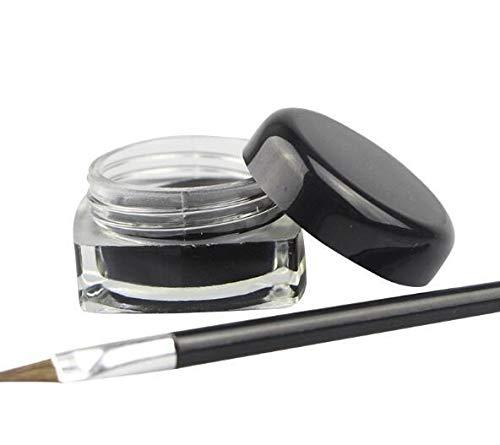 XSWY Crème Eyeliner Waterproof Noir Make Up Longue durée Gel Eye-Liner Outils de Maquillage for Fard à paupières avec Une Brosse (Couleur : Noir)