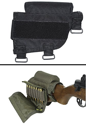 Ultimate Arms Gear Rifle Ammo Round Shot Shell Cartridge Hunting Stock Buttstock Cheek Rest Carrier Case Holder Fits .308 300 Winmag Remington 700 770 M24, Black