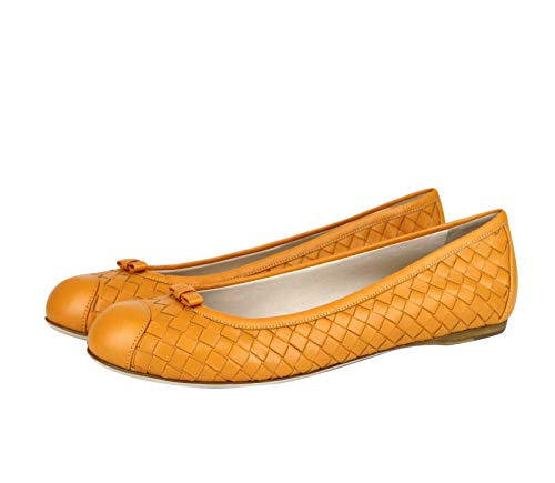 Bottega Veneta Women's Orange Leather Woven Ballet Flat 297868 7609 (39 EU / 9 US)