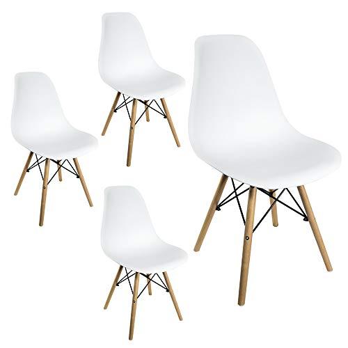 Sedie da Pranzo Giulia Bianche Design Nordico con Gambe in faggio (Bianco, 4 Pezzi)