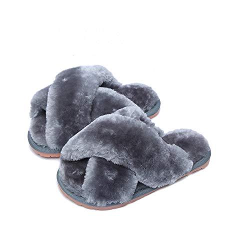 Pantofole Caldo Bambini Donna Invernali Peluche Comode Ciabatte da Casa Antiscivolo Home Scarpe 12/13 UK Child 31/32 EU