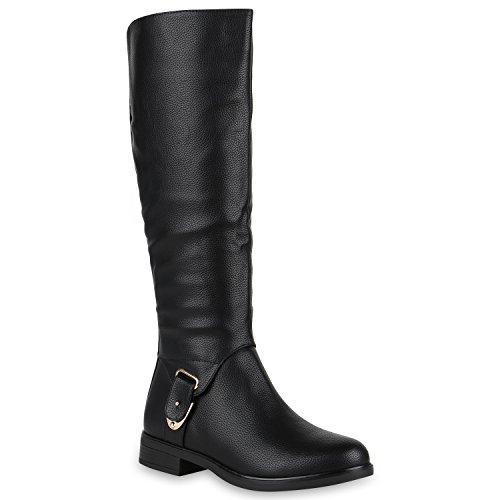Damen Reiterstiefel Gefütterte Stiefel Leder-Optik Schuhe Metallic 149291 Schwarz Metallic 37 Flandell
