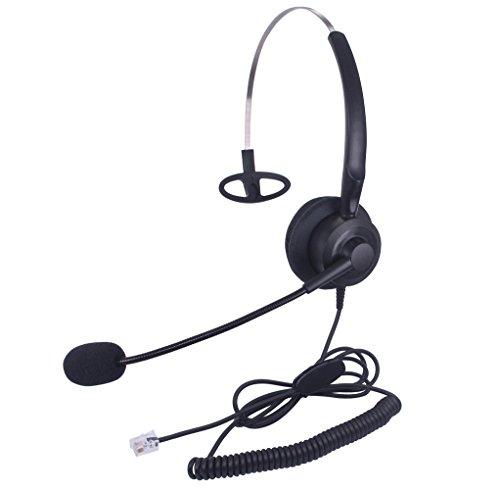 Xintronics Auriculares Teléfono Fijo Monoaural RJ9, Cascos con Cancelación de Ruido Micrófono para Plantronics M10 M12 M22 MX10 Amplificadores y Cisco 7941 7945 7975 (X10C1)