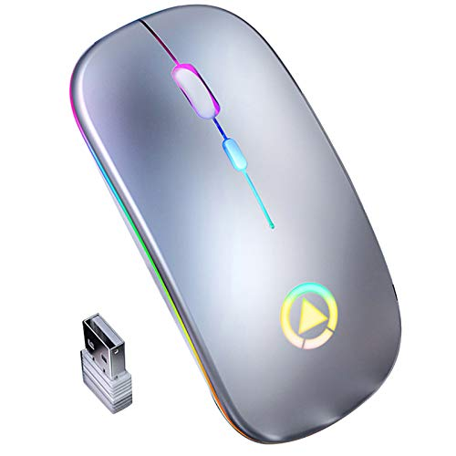FAMKIT Wireless Optical 2.4GHz Wireless Mobile Optical Mouse with RGB Backlit Mute Mice USB Rechargeable for Laptop PC Computer
