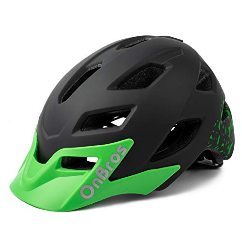 OnBros Kids Bike Helmet, Lightweight Cycling Helmet for Youth and Children, Size Adjustable Bicycle Helmets for Boys and Girls Age 5-13, 50-57cm (Black)