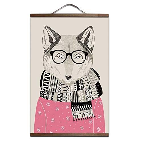 Wsxwga Niedliche león Panda Zorro Oso Madera Colgante Colgante Cartel nórdico Lienzo Pintura Carteles e Impresiones niño Sala de Estar decoración del hogar 60 * 90 cm