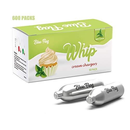 BLUE FLAG Mint Flavor Whipped Cream Chargers N2O Nitrous Oxide 8-Gram Cartridge for Whipper Whipped Cream Dispenser (600 Pack)