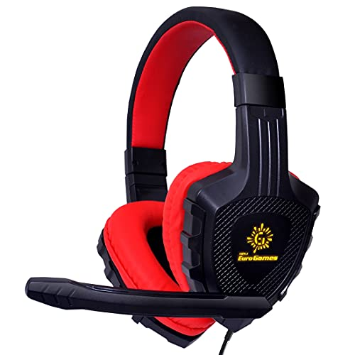 RPM Euro Games 4D Premium Gaming Headphones with LED & Mic for Mobile, Tablet, PC, PS4, Xbox One, Red