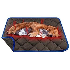 Manta Autocalentable para Gatos & Perros, L 90*60cm Almohadilla Térmica Impermeable Antideslizante Lavable Plegable sin Electricidad Ecológico Self Heating Pad para Mascotas, Café
