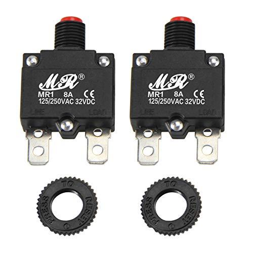 RKURCK 8 Ampere Thermoschutzschalter, 125/250 V AC, 32 V DC, Drucktaste, manuelles Reset, Überlastschutz, Schalter 8 A, 2 Stück