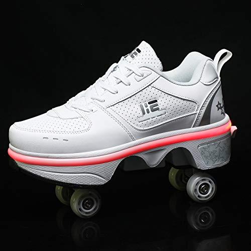 R&P Deformación 4 Rueda Patines En Paralelo Zapatos Multiusos Patines De Hielo Unisex, Deportes Al Aire Libre,42