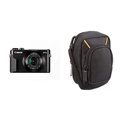 Canon PowerShot G7 X Mark II Digitalkamera (mit klappbarem Display, 20,1 MP, 4,2-Fach optischer Zoom 7,5cm LCD-Display, Touchscreen) schwarz & AmazonBasics Kameratasche für Kompaktkameras, groß