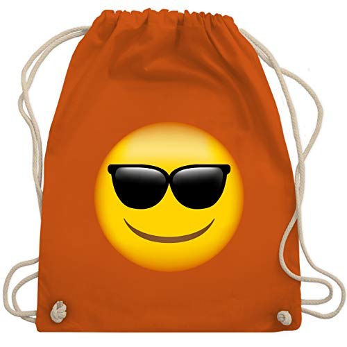 Comic Shirts - Emoticon Sonnenbrille - Unisize - Orange - sportbeutel junge schwarz - WM110 - Turnbeutel und Stoffbeutel aus Baumwolle