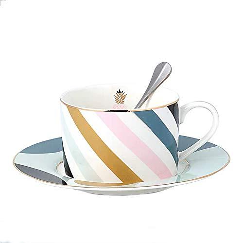 fsafa Kaffee-Set Kreative Muster Macaroon Farbe Mode Stil 250Ml Kaffeetasse Und Untertasse Set,Neuheit Personalisierte Schokolade Tee Milchtassen,Beste GIF