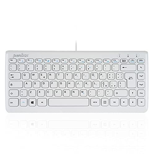 Perixx PERIBOARD-407 Mini Tastiera USB con Filo, Ultra Sottile e Portatile, Bianco, Layout Italiano