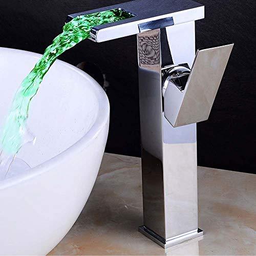 Yongenee Luz Creativa de la Cascada LED Lavabo Grifo Caliente y frío Lavabo Baño Lavado de Color for lavamanos Hermosa práctica (Color : B)