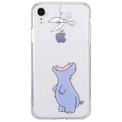 Cover iPhone XR, Silicone Morbida Trasparénte Paraurti (TPU) Protettiva Custodia, Creativo Bello Carino Immagine Protezione Case Cover per Apple iPhone XR - Ippopotamo
