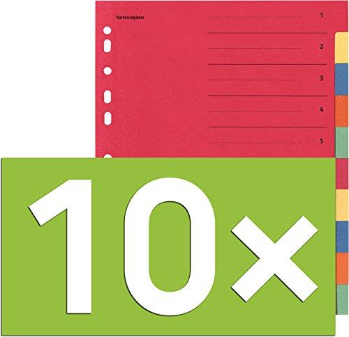 Falken Karton-Register für DIN A4 24 x 29,7 cm volle Höhe mit Organisationsdruck (10-teilig | 10er Pack)
