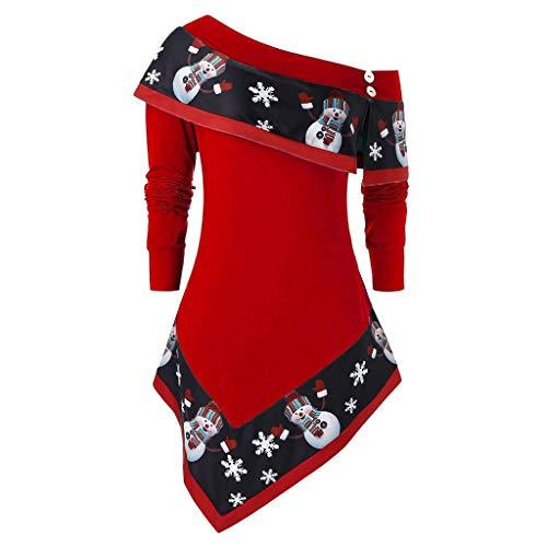 BESTOPER - Sudadera para mujer, diseño de muñeco de nieve con costuras en contraste irregulares Rojo rosso XL