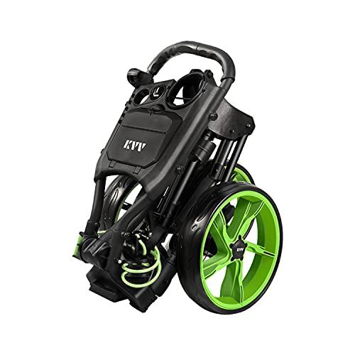 KVV - Carrito plegable de golf con 3 ruedas, tamaño pequeño plegable, ultra ligero, con soporte para tarjeta de puntuación.