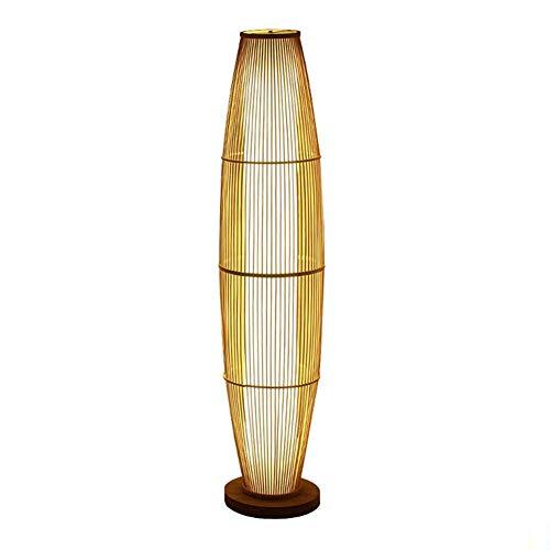 HTZ-M Lámpara de pie, lámpara de pie Hueca de bambú Simple Marco de Madera de bambú y 3 Bombillas LED Estudio de Dormitorio Lámpara Vertical Diseño de luminaria Iluminaci