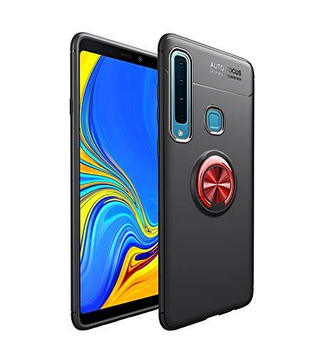 Capa compatível para Samsung Galaxy A9 2018/A9S/A9Pro 2018 Capa de silicone Suporte de protetor magnético Anel de absorção de choque TPU + ABS Material Capa anti-queda:Vermelho Preto