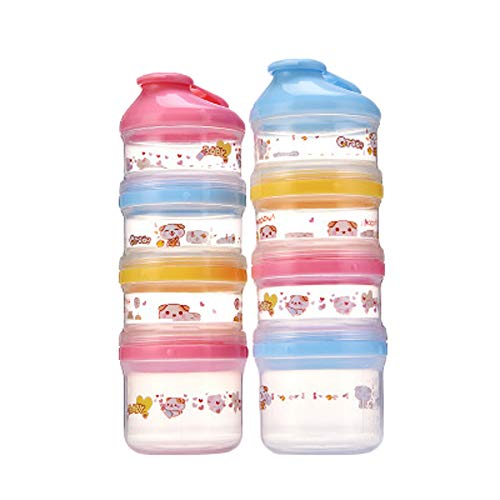 Read About Comfysail 2 Pack 4-Layer Portable Formula Dispenser Milk Powder Dispenser Snack Cup Conta...