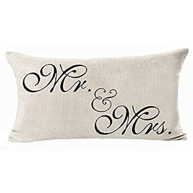 Cotton Linen Decorative Throw Pillow Case Cushion Cover Sweetheart Mr and Mrs Black Rectangle 12 X 20 Inches