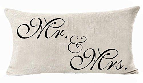 Sweetheart Mr et Mrs Noir et rouge de Saint-Valentin Parade nuptiale Cadeau en lin/coton Couvre-lit décoratif Taie d'oreiller Housse de coussin carré 45,7 x 45,7 cm, Tissu, Lumbar Pillowcase, 12'X20'