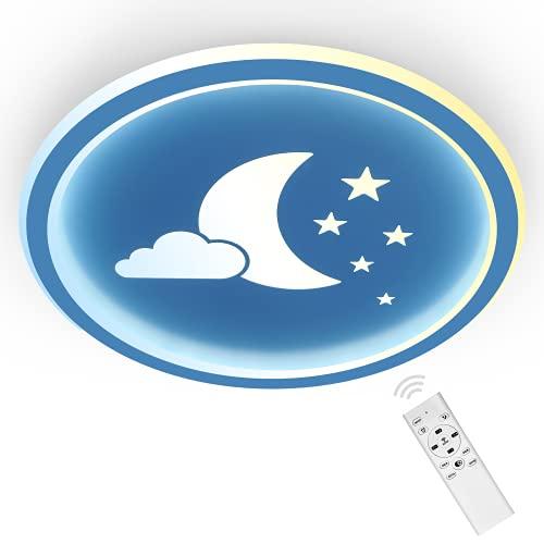 ANTEN Moonpie I Plafoniera LED 24W Con Telecomando I Blu I Plafoniera Cameretta Bambina Ragazzo I Piatto 4,5 cm I Ø...