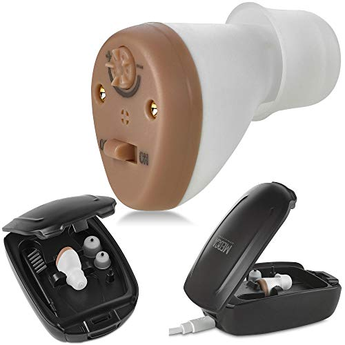 Hearing Amplifier for Seniors and Adults, Rechargeable CIC Complete-in-Canal Nearly Invisible Personal Sound Amplifier with Digital Noise Cancelling and Feedback Reduction Feature, Left Ear