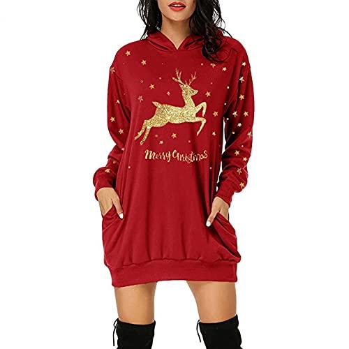 Lomelomme Longpullover für Damen, Damen Weihnachtspullover Kleid Weinglas Motiv Langarm Hoodie Weihnachtskleid Weihnachten Langarmshirt Elegante Pulli Kleid