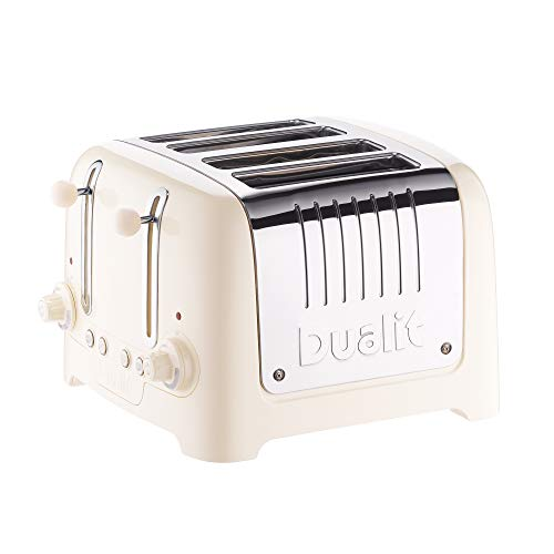 Dualit 46202 4 Slice Lite Toaster | 2kW Toasts 120 Slices an Hour | Polished with High Gloss Cream Trim | Bagel & Defrost Settings | 36mm Wide Slots