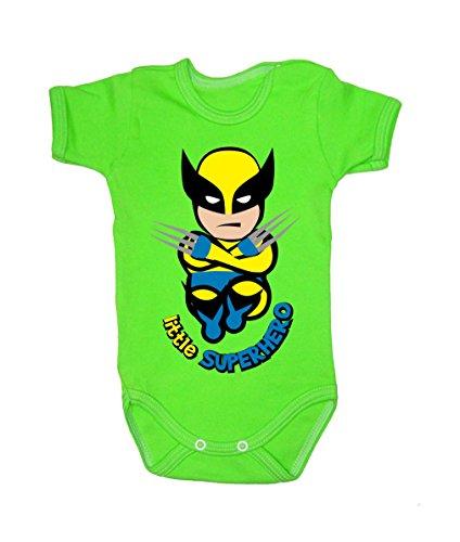 Colour Fashion Grenouillère à manches courtes pour bébé de 24 mois, 100 % coton, motif Wolverine Green 3-6 months, 68 cm