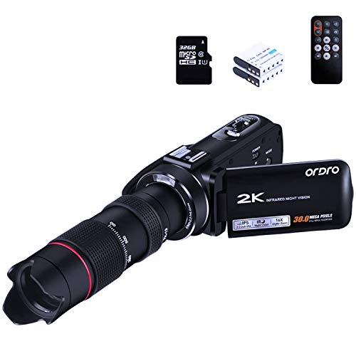 ORDRO Video Camera HDV-Z63 Camcorder with 12x Telescope Ultra HD 2K 30fps 30MP WiFi Camera Recorder Infrared Night Vision Digital Cameras YouTube Vlogging Camcorders with 32GB MicroSDHC Card