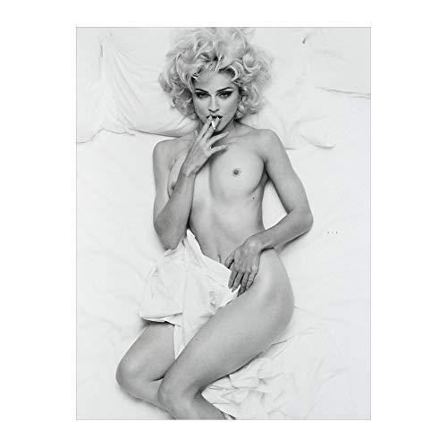 Rixart Madonna Bad Girl Music Poster Black and White Pop Super Star Art Poster