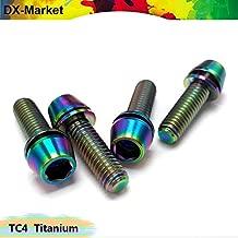 Ochoos m5 m6 conical Head Titanium Screw, TC4 hex Socket Head Cap Screw with Washer, GR5 Titanium Alloy Fasteners - (Dimensions: M5x20-10 Pieces, Color: Mixed Color)
