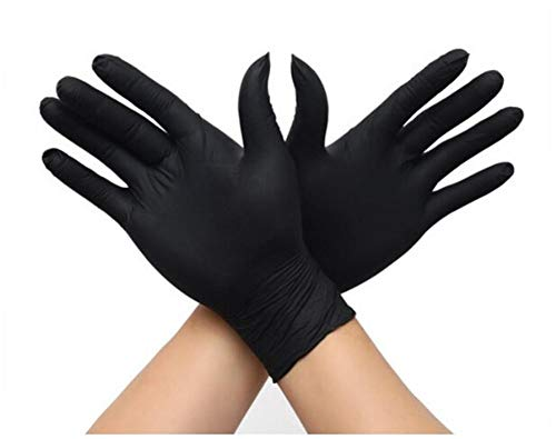 100 Pcs Nitrile Disposable Gloves Latex Free Oil Resistant Acid and Alkali Resistant Non-Slip Protective Gloves for Housework Food Plastic Gloves (Black, M)