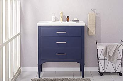 """Design Element Mason 30"""" Single Sink Bathroom Vanity in Navy Blue-Made with Solid Hardwood and Ceramic Undermount Sink"""