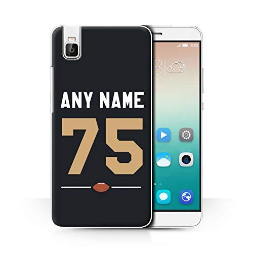 eSwish Personalisiert Persönlich Amerikanischer Fußball Jersey Hülle für Huawei Honor 7i/ShotX/Schwarz/Gold Design/Initiale/Name/Text Schutzhülle/Hülle/Etui