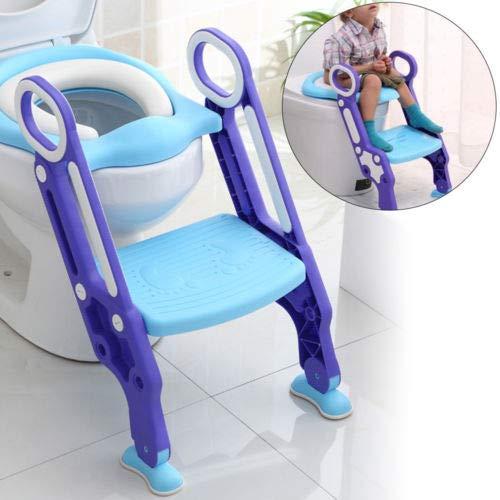 DiLiBee Töpfchentrainer Kinder-Töpfchen Toilettensitz Trainer Sitz für Kinder Toiletten Training mit Leiter/Treppe,Rutschfest stabil klappbar und höhenverstellbar (Blau+Lila)