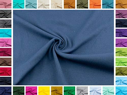 Swafing Bündchen-stoff Heike XL 100 cm als Schlauchware in Uni blau I Oeko-Tex Standard 100 Qualität I ab 25 cm als Basic-Stoff