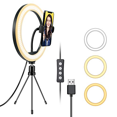 EMIUP 10 inch Selfie Ring Light with Tripod Stand & Cell Phone Holder for Live Stream/Makeup, Mini Led Camera Ringlight for YouTube Video/Photography Compatible with iPhone Android,3 Light Modes