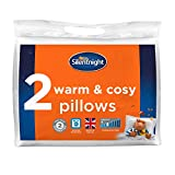 Silentnight Warm & Cosy Pack of 2-Luxury Hypoallergenic Hotel Pair with Microfibre Filling-Machine Washable Thick Pillows Polyester Cover, White, Twin