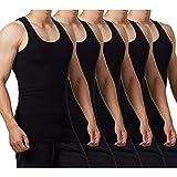 FALARY Camiseta de Tirantes para Hombre Pack de 5 de Algodón 100% más Colores Negro L
