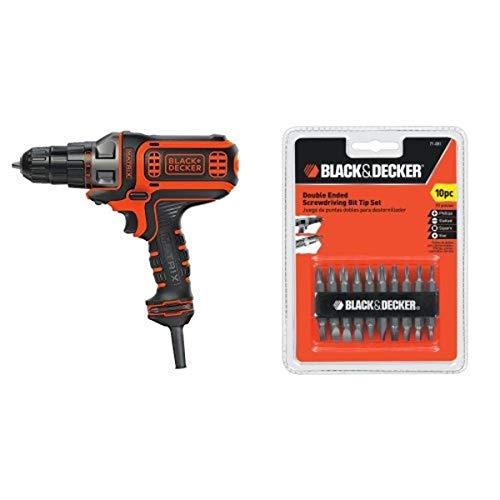 BLACK+DECKER BDEDMT Matrix AC Drill/Driver with 71-081 Double Ended Screwdriving Bit Set, 10-Piece