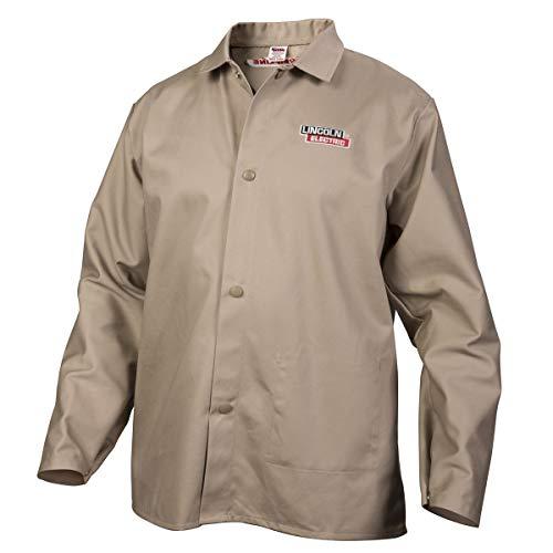 Lincoln Electric Premium Flame Resistant (FR) Cotton Welding Jacket | Comfortable | Khaki / Tan | Large | K3317-L