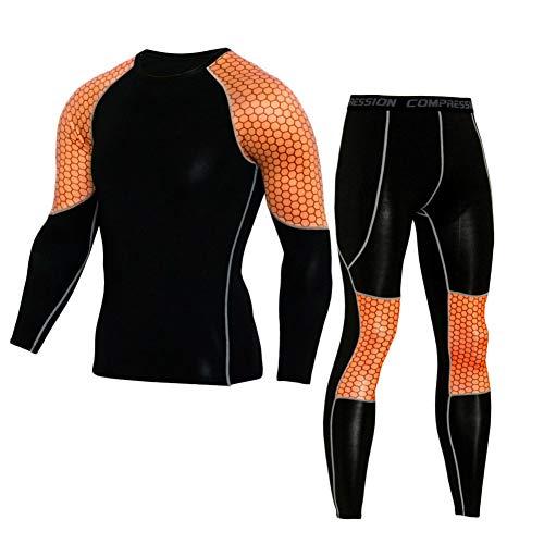 Camiseta Térmica Técnica De Compresión para Hombres Manga Larga Pantalones Largos Deportiva Leggings para Running, Montaña, Ciclismo,Fitness