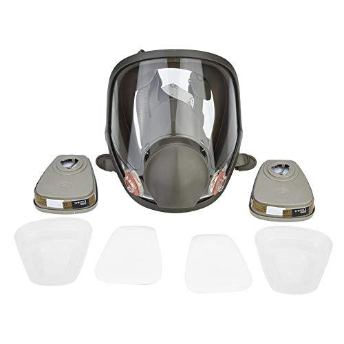 Respirador de cara completa, mascara de gas militar máscara de gas y respirador de vapor orgánico para pintar, desinfección de soldadura(Juego completo de 7 piezas + 3 cajas)